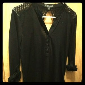 Tops - Almost Famous Black Button-Up Tunic Shirt Lace
